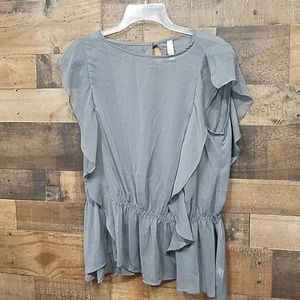 Xhiaration gray semi sheer blouse Large